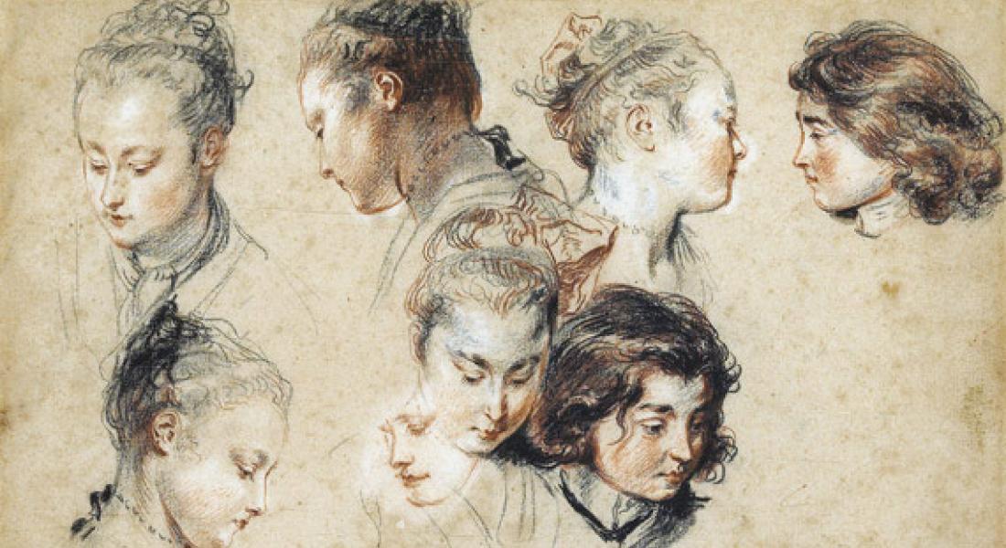 Six études de tête de femme et deux d'un jeune garçon, Antoine Watteau