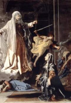 Sainte Françoise Romaine annonçant à Rome la fin de la peste.