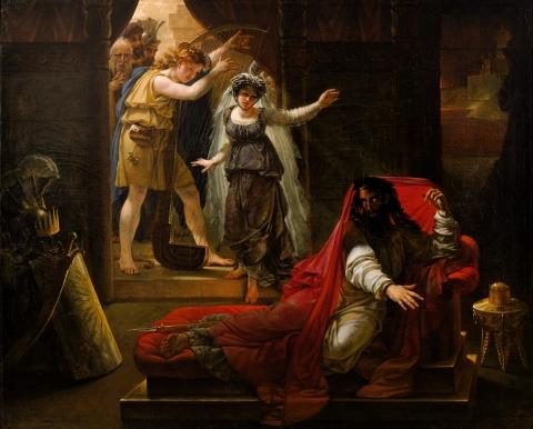 David jouant de la harpe pour le roi Saül