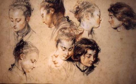 Six études de tête de femme et deux d'un jeune garçon