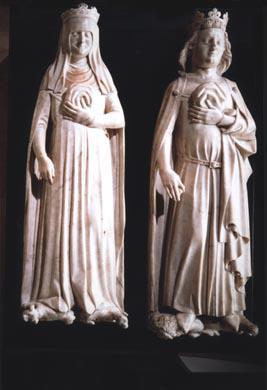 Charles IV le Bel, roi de France, tenant un sac contenant ses entrailles. - Jeanne d'Evreux, reine de France, tenant un sac contenant ses entrailles.