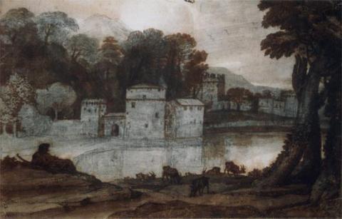 Moulin et ville fortifiés au bord d'un lac