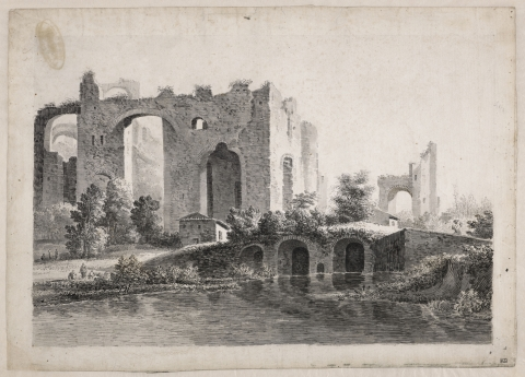 Paysage de ruines animées