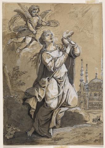 Sainte tenant un cœur ardent, couronnée par un angelot qui lui apporte la palme du martyre, avec la mosquée Süleymaniye à l'arrière-plan
