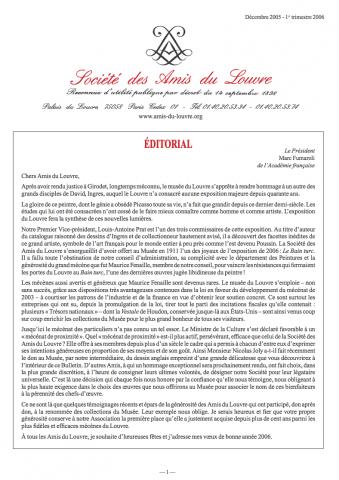 Bulletin trimestriel des Amis du Louvre du 1er trimestre 2006