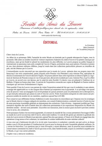 Bulletin trimestriel des Amis du Louvre du 2ème trimestre 2006