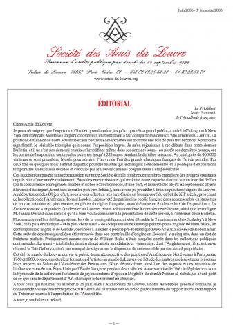 Bulletin trimestriel des Amis du Louvre du 3ème trimestre 2006