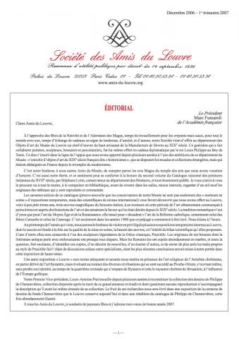 Bulletin trimestriel des Amis du Louvre du 1er trimestre 2007
