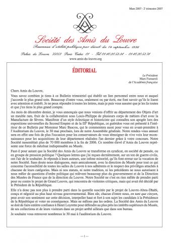 Bulletin trimestriel des Amis du Louvre du 2ème trimestre 2007