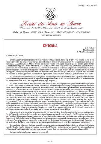 Bulletin trimestriel des Amis du Louvre du 3ème trimestre 2007