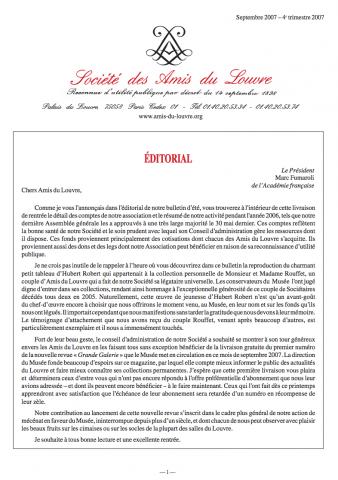 Bulletin trimestriel des Amis du Louvre du 4ème trimestre 2007