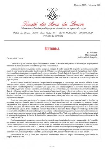 Bulletin trimestriel des Amis du Louvre du 1er trimestre 2008