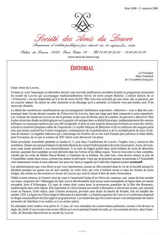 Bulletin trimestriel des Amis du Louvre du 2ème trimestre 2008