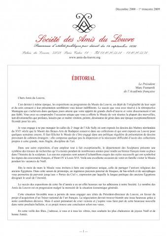 Bulletin trimestriel des Amis du Louvre du 1er trimestre 2009
