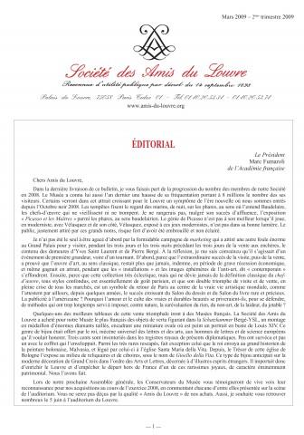 Bulletin trimestriel des Amis du Louvre du 2ème trimestre 2009