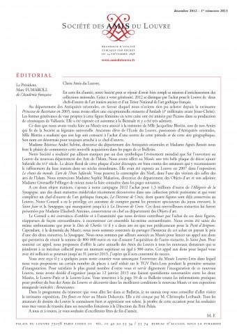 Bulletin trimestriel des Amis du Louvre du 1er trimestre 2013