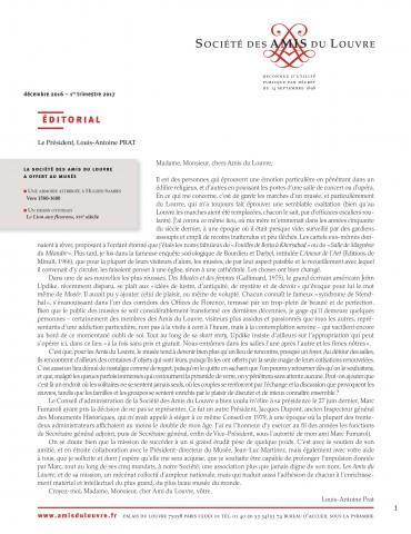 Bulletin trimestriel des Amis du Louvre du 1er trimestre 2017