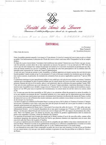 Bulletin trimestriel des Amis du Louvre du 4ème trimestre 2001
