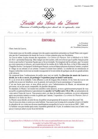Bulletin trimestriel des Amis du Louvre du 3ème trimestre 2002