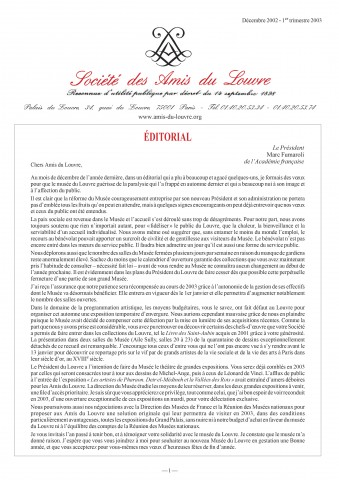 Bulletin trimestriel des Amis du Louvre du 1er trimestre 2003