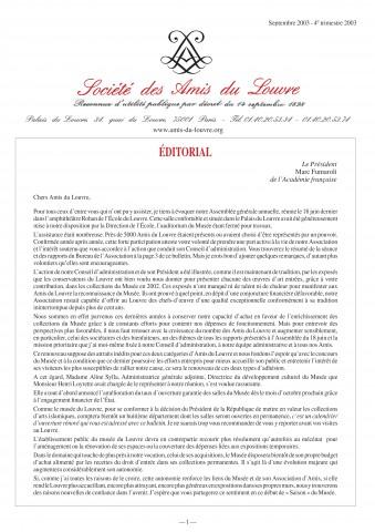 Bulletin trimestriel des Amis du Louvre du 4ème trimestre 2003
