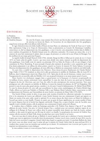 Bulletin trimestriel des Amis du Louvre du 1er trimestre 2014