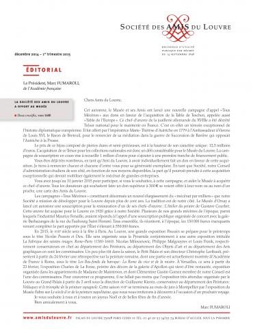 Bulletin trimestriel des Amis du Louvre du 1er trimestre 2015