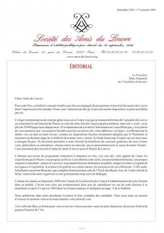 Bulletin trimestriel des Amis du Louvre du 1er trimestre 2004