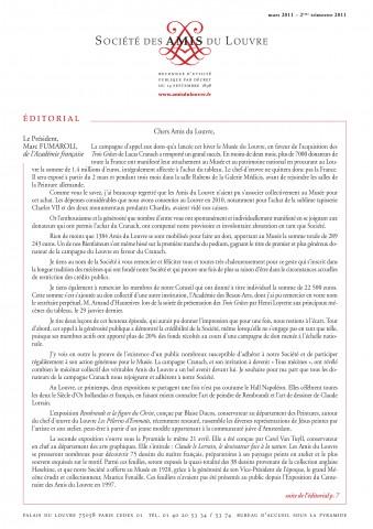 Bulletin trimestriel des Amis du Louvre du 2ème trimestre 2011