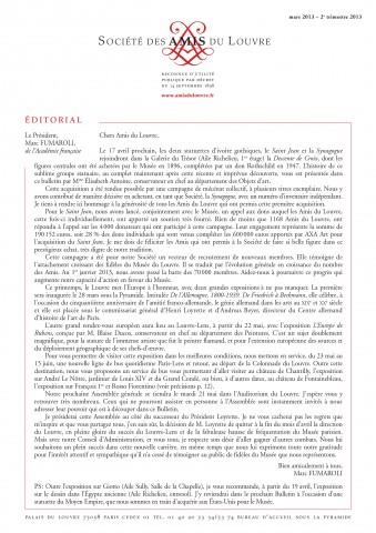 Bulletin trimestriel des Amis du Louvre du 2ème trimestre 2013