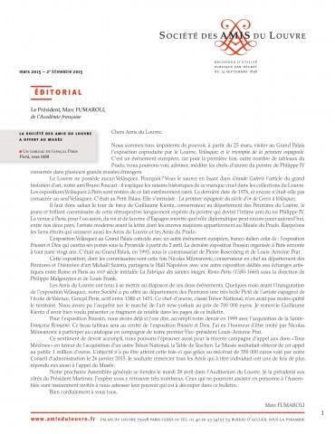 Bulletin trimestriel des Amis du Louvre du 2ème trimestre 2015
