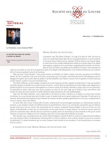 Bulletin trimestriel des Amis du Louvre du 2ème trimestre 2017