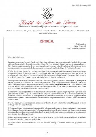 Bulletin trimestriel des Amis du Louvre du 2ème trimestre 2003