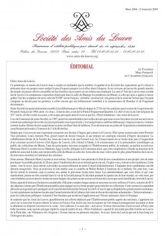 Bulletin trimestriel des Amis du Louvre du 2ème trimestre 2004