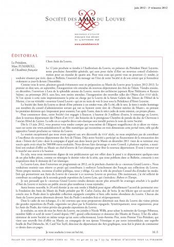 Bulletin trimestriel des Amis du Louvre du 3ème trimestre 2012