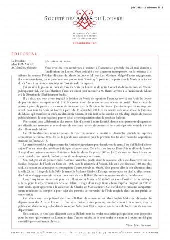 Bulletin trimestriel des Amis du Louvre du 3ème trimestre 2013