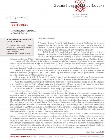 Bulletin trimestriel des Amis du Louvre du 3ème trimestre 2014