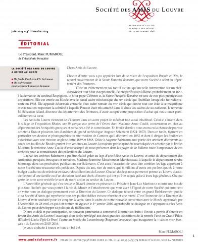 Bulletin trimestriel des Amis du Louvre du 3ème trimestre 2015
