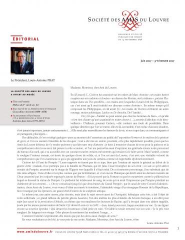 Bulletin trimestriel des Amis du Louvre du 3ème trimestre 2017