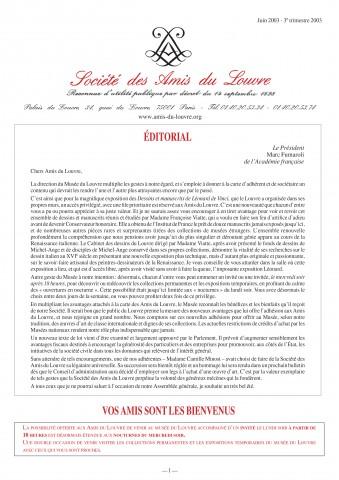 Bulletin trimestriel des Amis du Louvre du 3ème trimestre 2003