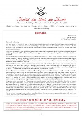 Bulletin trimestriel des Amis du Louvre du 3ème trimestre 2004