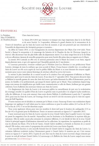 Bulletin trimestriel des Amis du Louvre du 4ème trimestre 2013