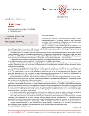 Bulletin trimestriel des Amis du Louvre du 4ème trimestre 2016