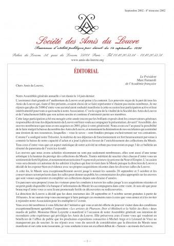 Bulletin trimestriel des Amis du Louvre du 4ème trimestre 2002