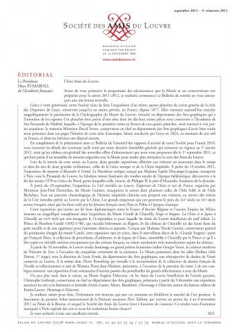 Bulletin trimestriel des Amis du Louvre du 4ème trimestre 2011