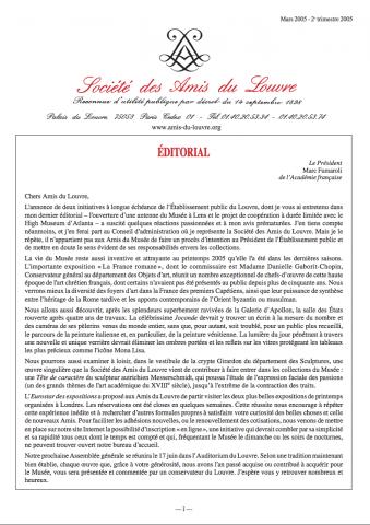 Bulletin trimestriel des Amis du Louvre du 2ème trimestre 2005