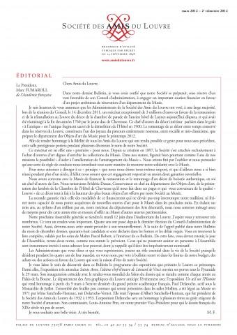 Bulletin trimestriel des Amis du Louvre du 2ème trimestre 2012