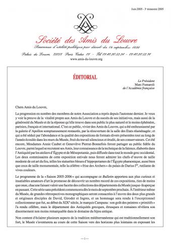 Bulletin trimestriel des Amis du Louvre du 3ème trimestre 2005