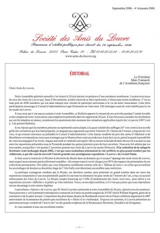 Bulletin trimestriel des Amis du Louvre du 4ème trimestre 2006
