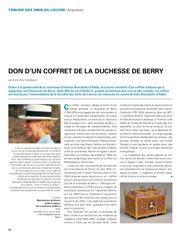 Don d'un coffret de la duchesse de Berry